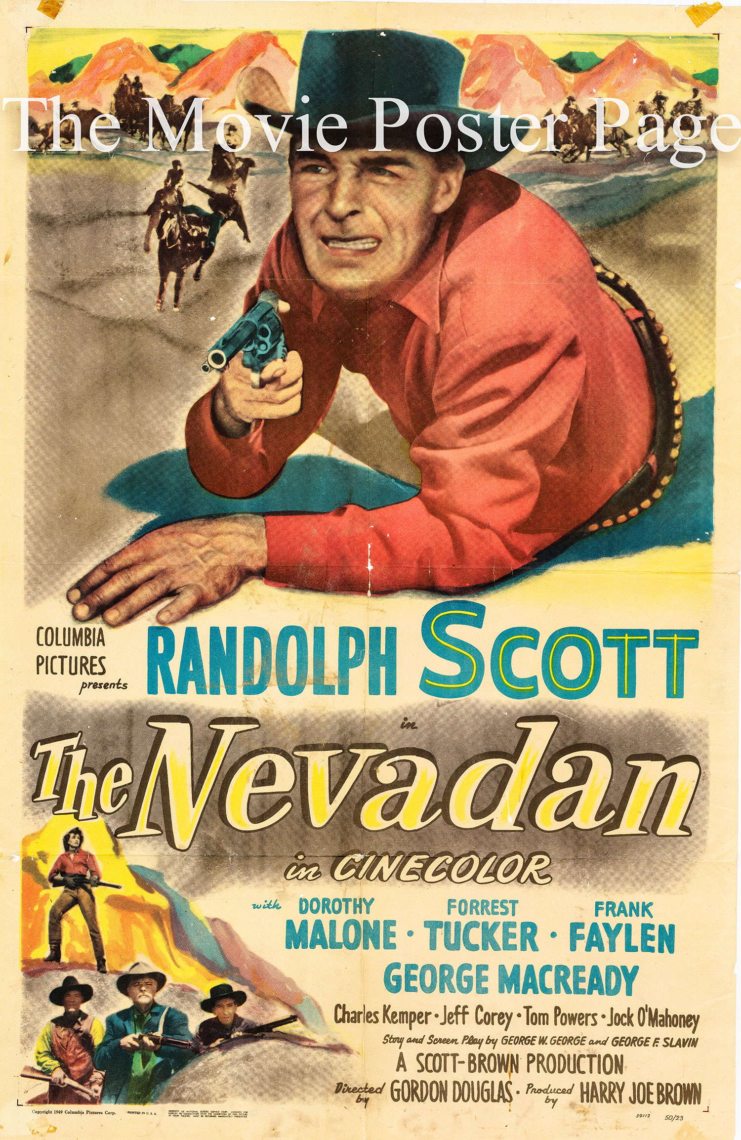 Pictured is a US one-sheet promotional poster for the 1950 Gordon Douglas film The Nevadan starring Randolph Scott.