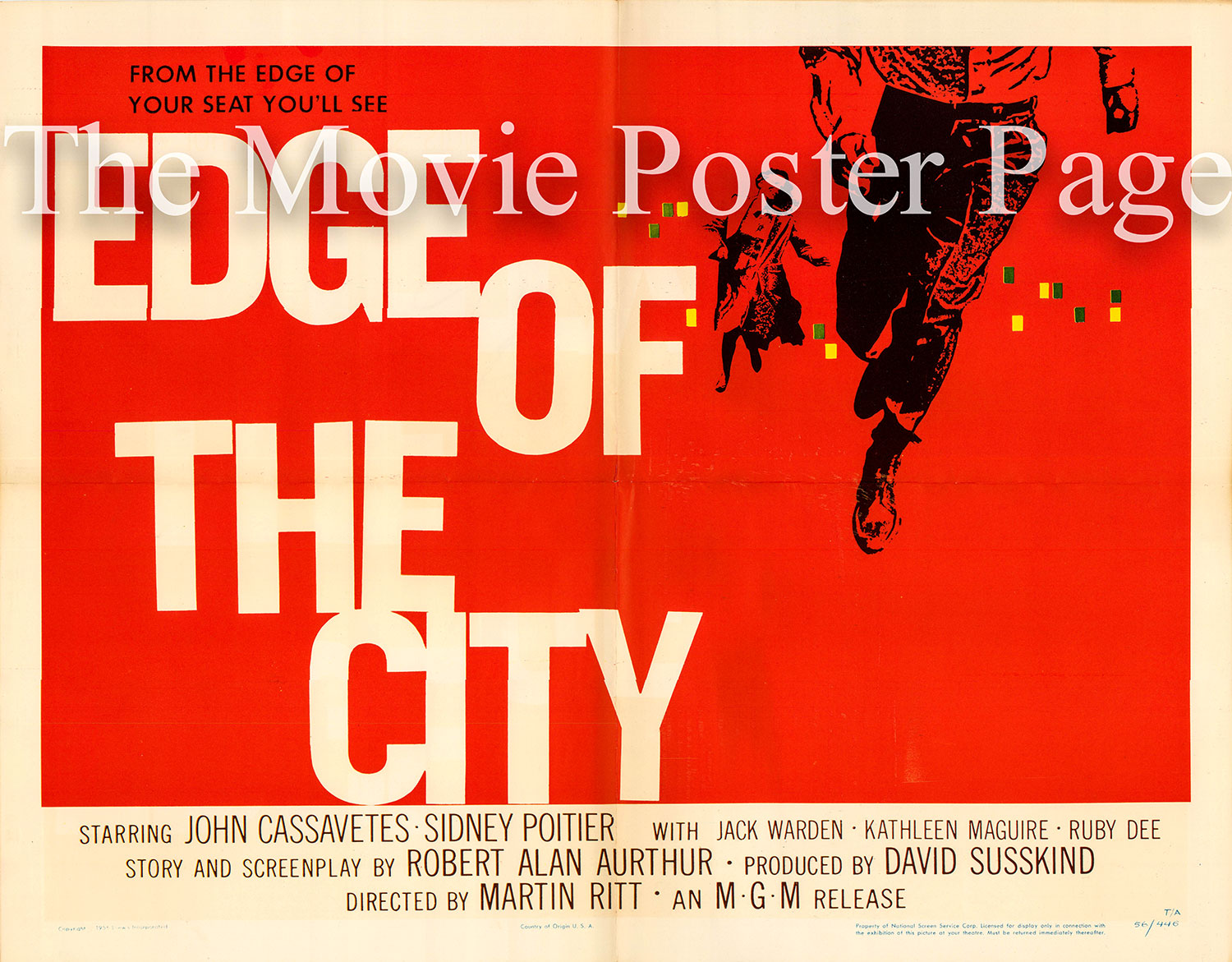 Pictured is a US half-sheet promotional poster for the 1957 Martin Ritt film Edge of the City starring Sidney Poitier and John Cassavetes, with art by Saul Bass.