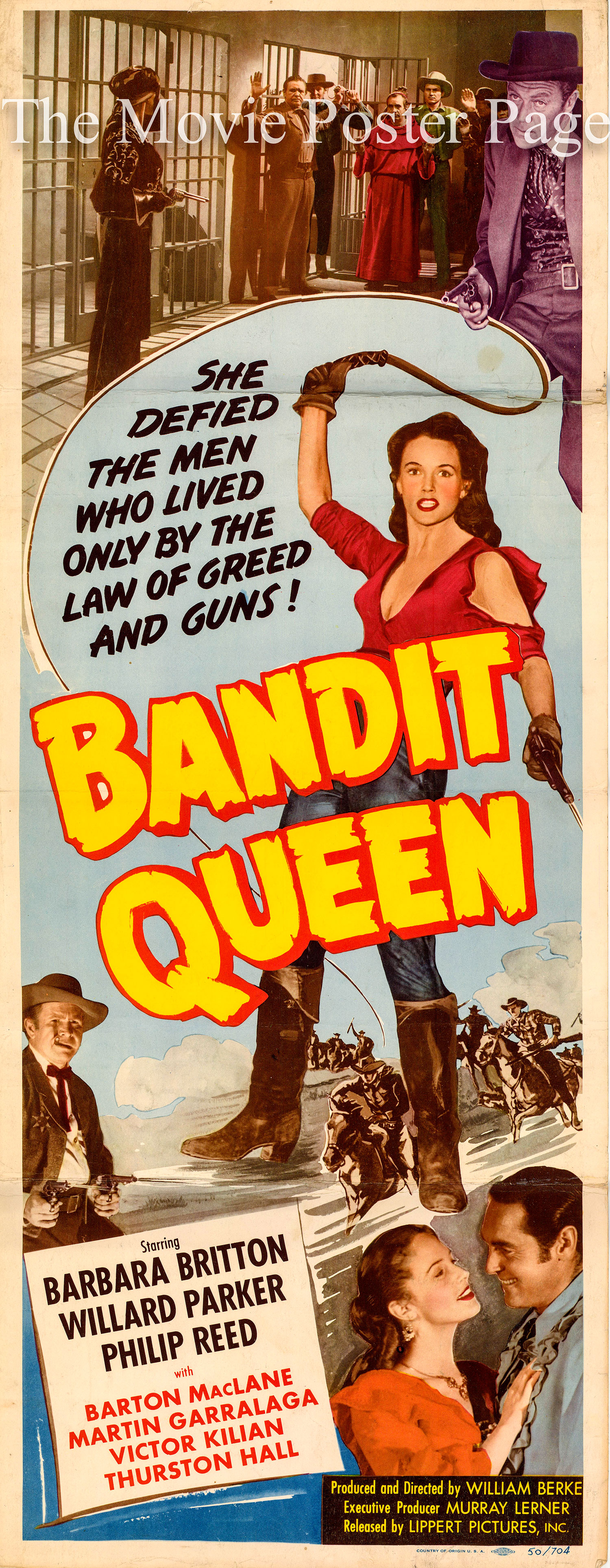 Pictured is a US insert promotional poster for the 1950 William Berke film Bandit Queen starring Barbara Britton.