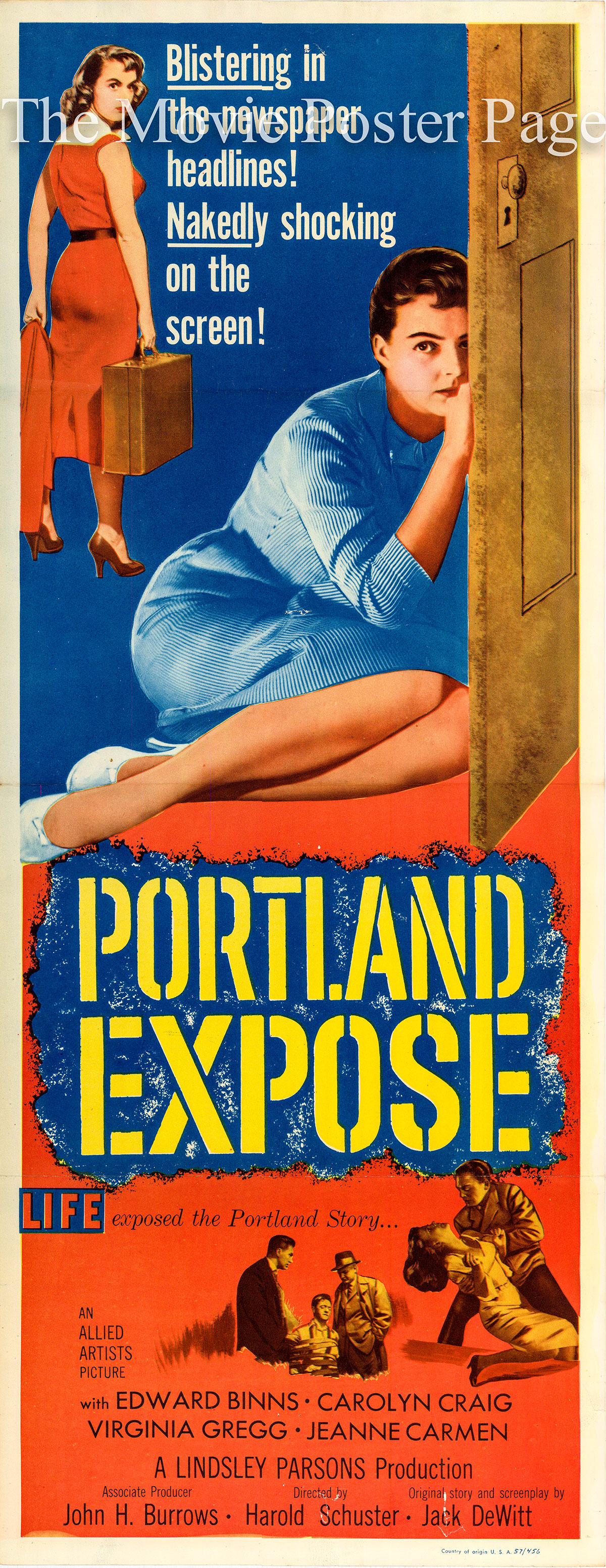 Pictured is a US one-sheet promotional poster for the 1957 Harold D. Schuster film Portland Expose starring Clara Madison.