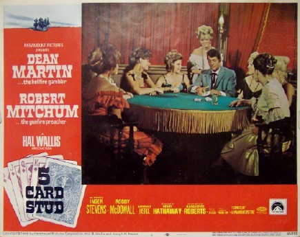 Pictured is a US lobby card for the 1968 Henry Hathaway film Five Card Stud starring Dean Martin and Robert Mitchum.