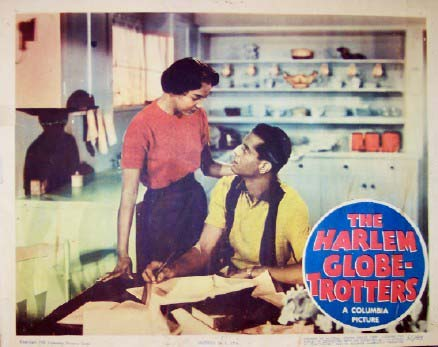 Pictured is a US lobby card for the 1951 Phil Brown and Will Jason film The Harlem Globetrotters starring Thomas Gomez and Dorothy Dandridge.