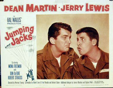 Pictured is a US lobby card for the 1952 Norman Taurog film Jumping Jacks starring Dean Martin and Jerry Lewis.