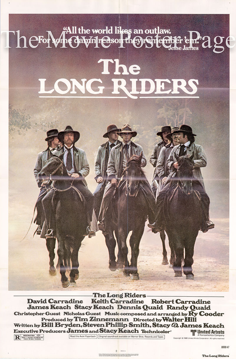 Pictured is a US one-sheet poster for the 1980 Walter Hill film The Long Riders starring David Carradine.
