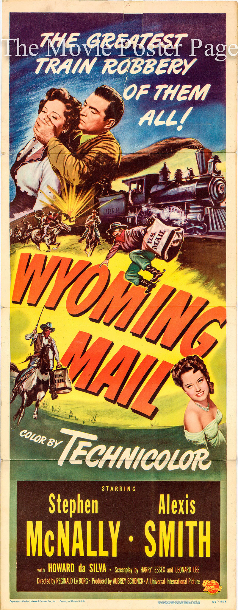 Pictured is the US insert promotional poster for the 1950 Reginald Le Borg film Wyoming Mail, starring Steven McNally.