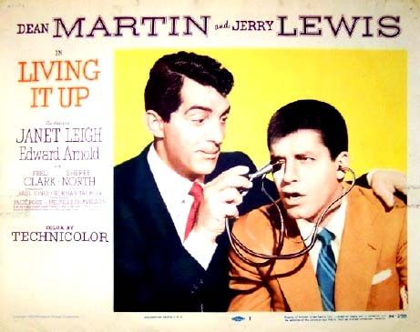 Pictured is a US promotional lobby card for the 1954 Norman Taurog film Living it Up starring Dean Martin and Jerry lewis.