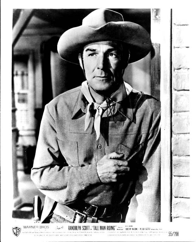 Pictured is a US black and white still of Randolph Scott for the 1955 Lesley Selander film Tall Man Riding starring Randolph Scott.