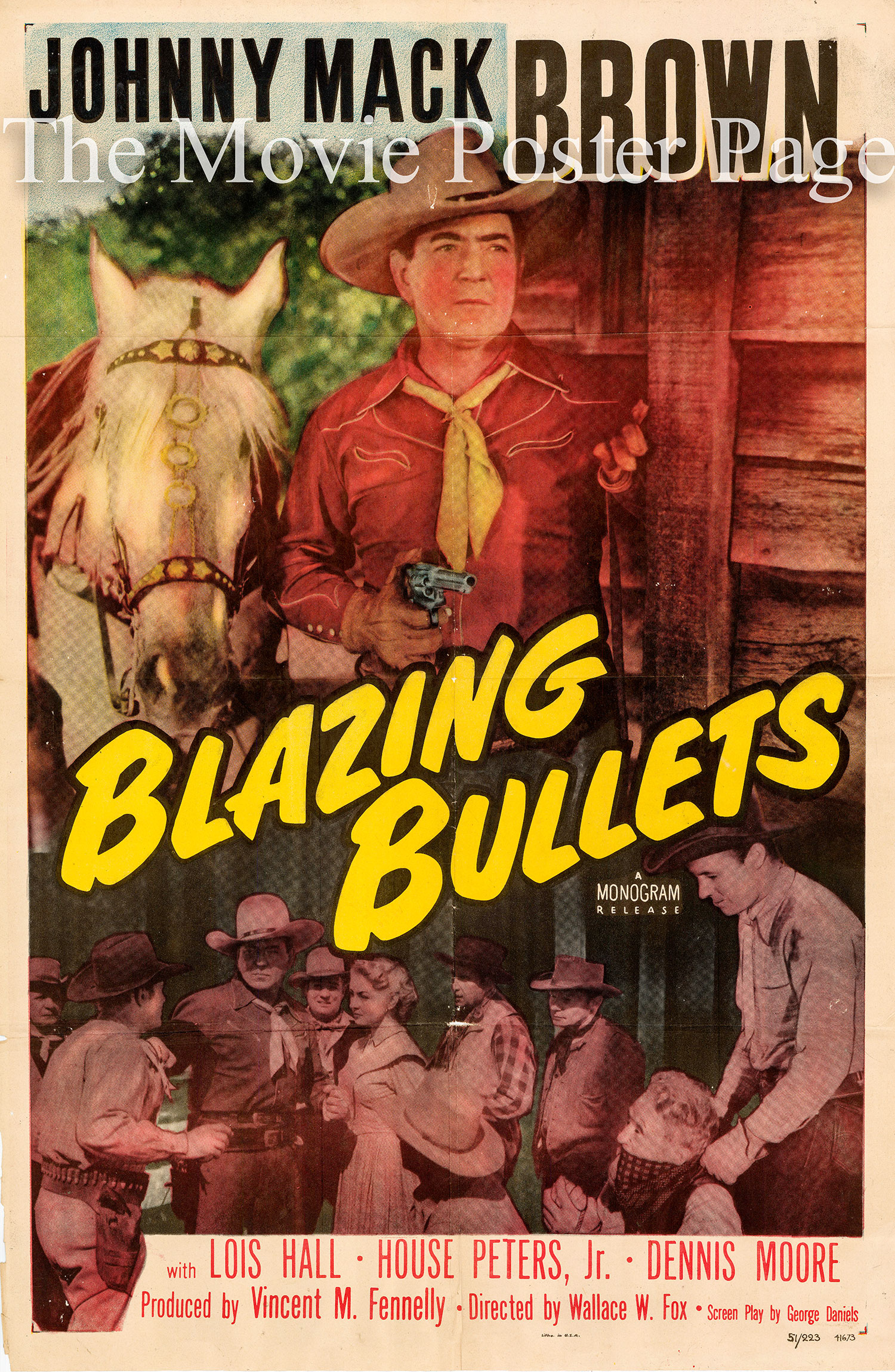 Pictured is a US one-sheet promotional poster for the 1951 Wallace Fox film Blazing Bullets starring Johnny Mack Brown.