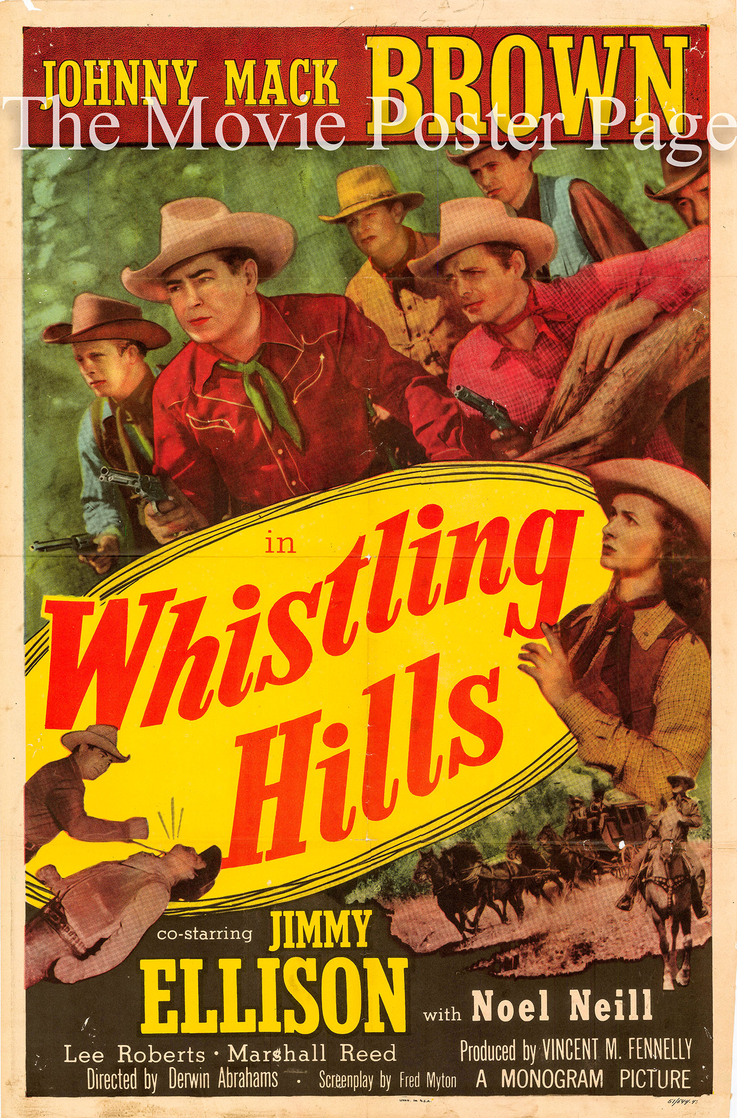 Pictured is a US one-sheet promotional poster for the 1951 Derwin Abrahams film Whistling Hills starring Johnny Mack Brown.