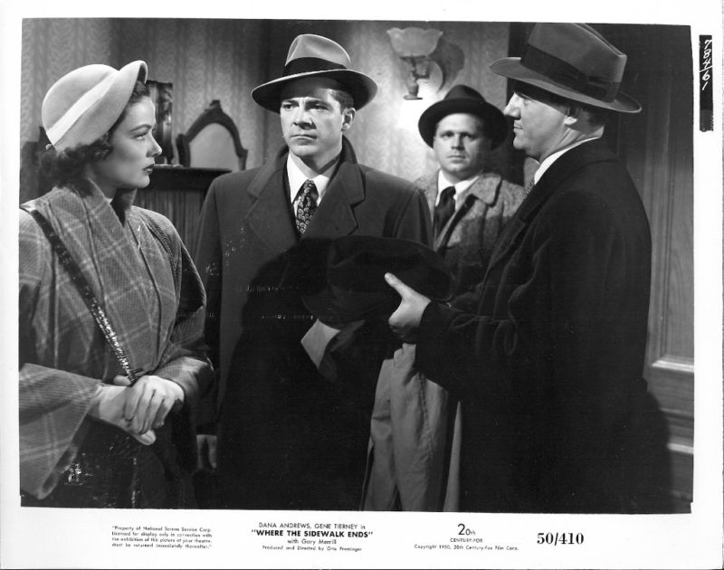 Pictured is a US black and white still for the 1950 Otto Preminger film Where the Sidewalk Ends starring Dana Andrews and Gene Tierney.