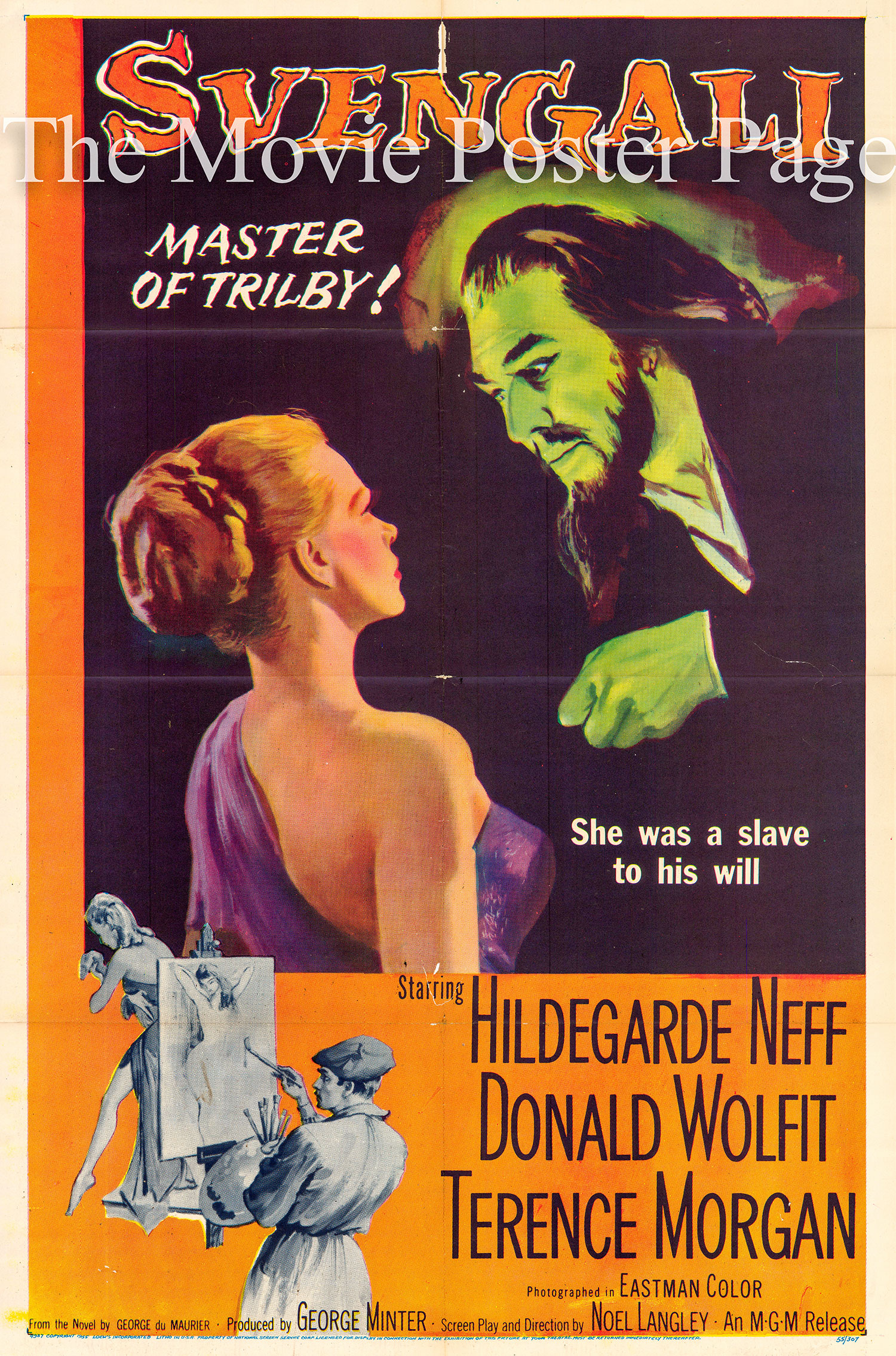 Pictured is a US one-sheet promotional poster for the 1955 Noel Langley film Svengali starring Hildegarde Neff.