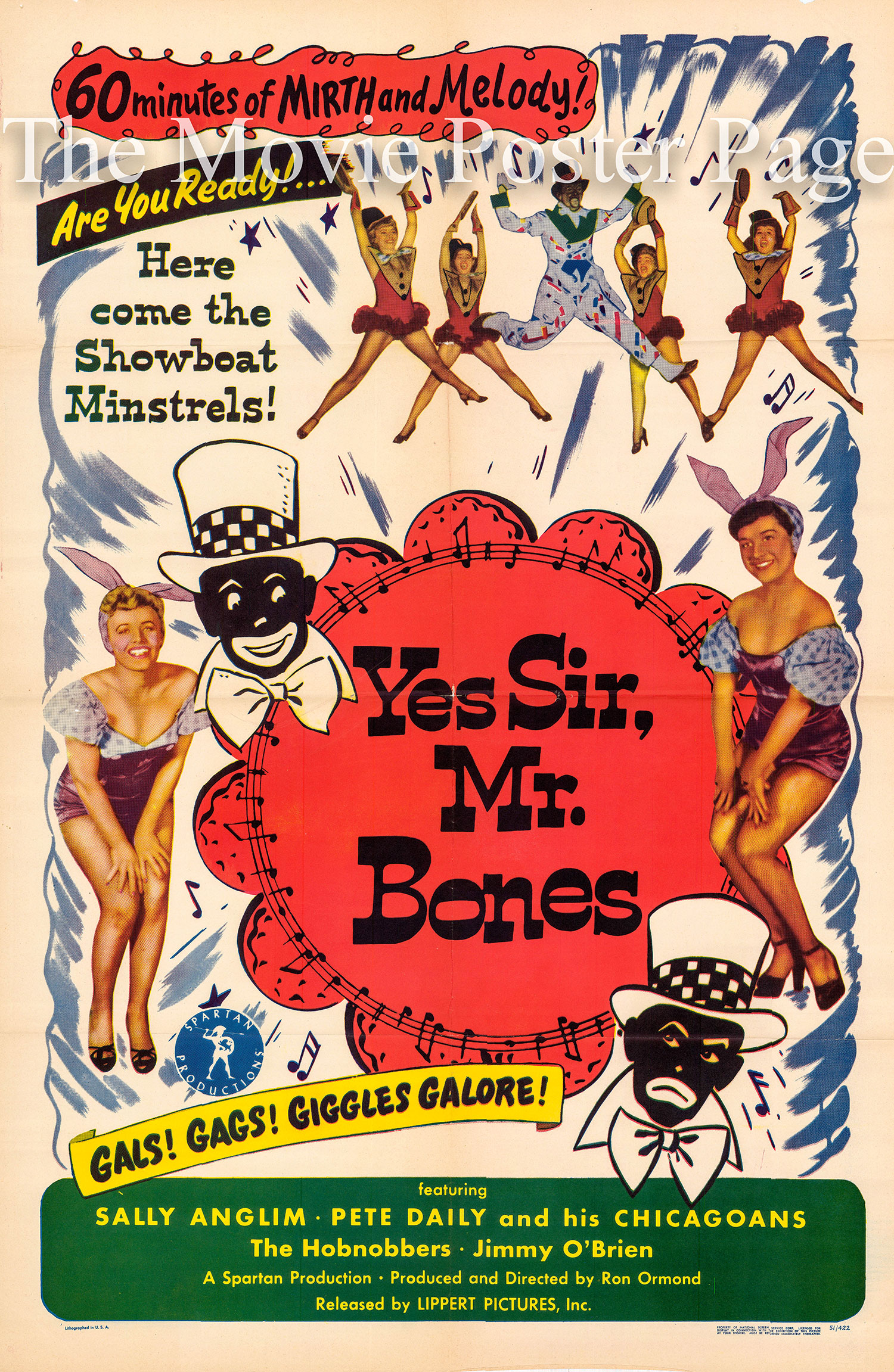 Pictured is a US one-sheet promotional poster for the 1951 Ron Ormond film Yes Sir, Mr. Bones starring Chick Watts and Scatman Crothers.