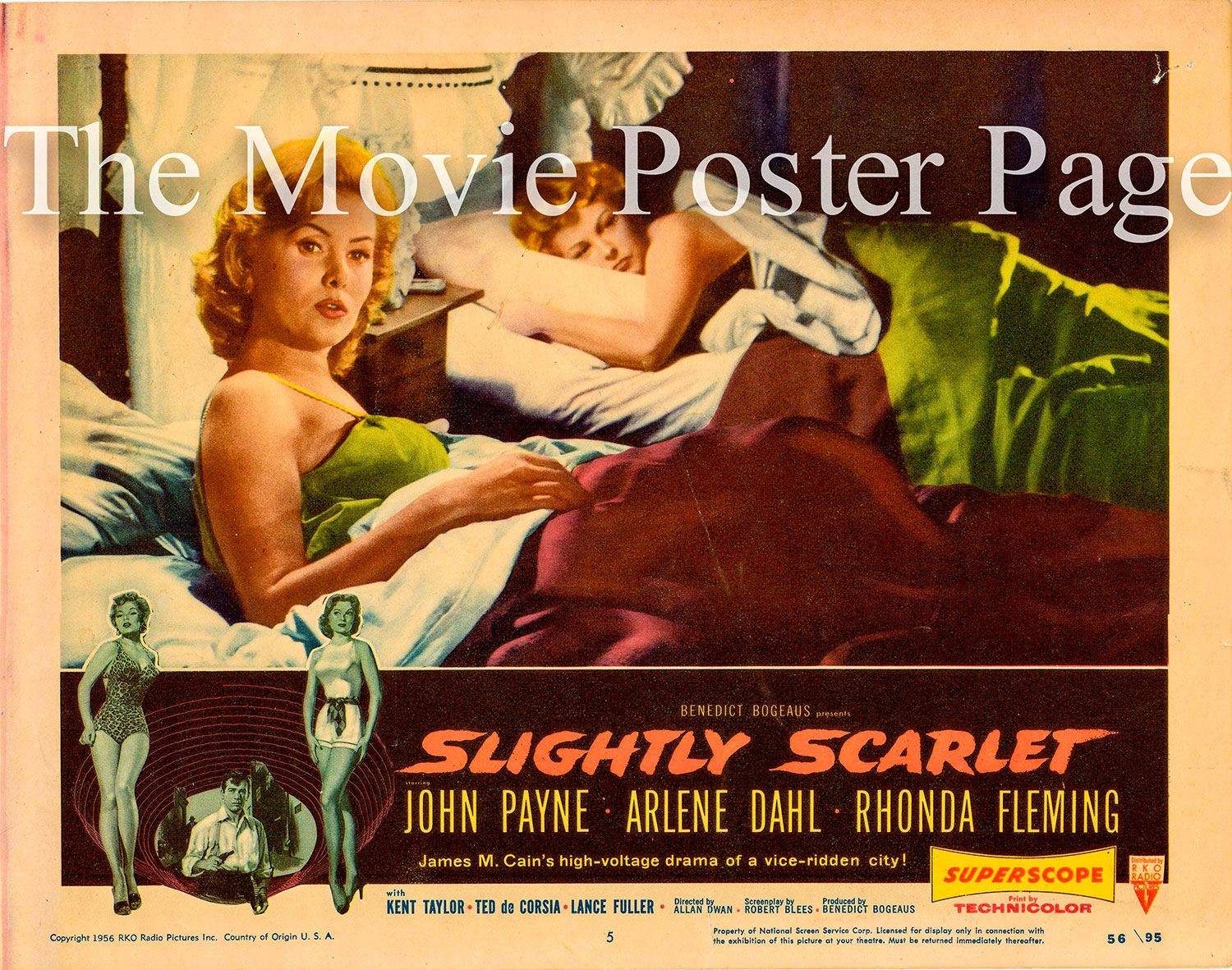 Pictured is a US lobby card for the 1956 Allan Dwan film Slightly Scarlet starring John Payne and Rhonda fleming.