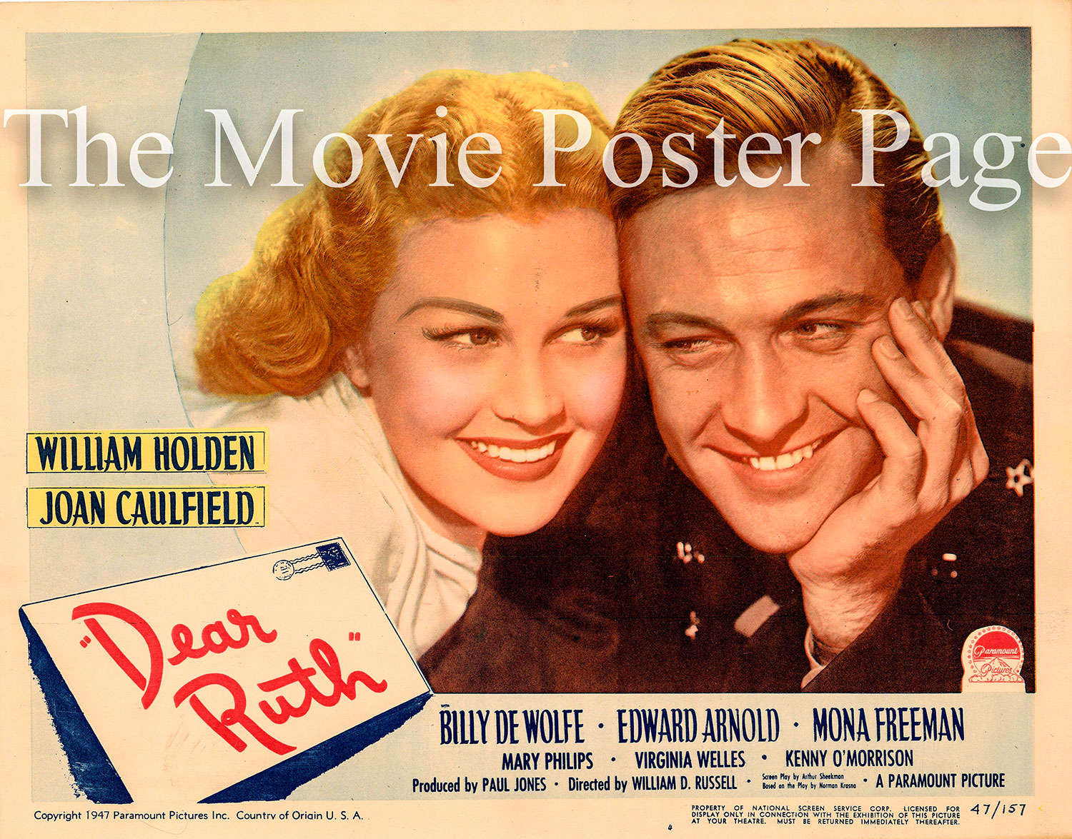Pictured is a US lobby card for the 1947 William D. Russell film Dear Ruth starring William Holden and Joan Caulfield.