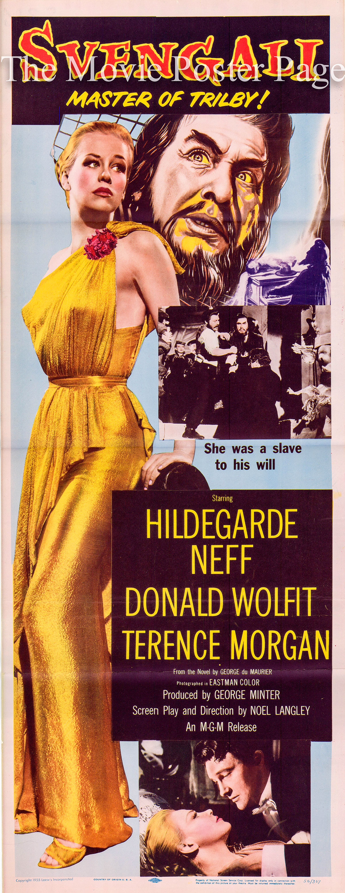Pictured is a US insert promotional poster for the 1955 Noel Langley film Svengali starring Hildegarde Neff.