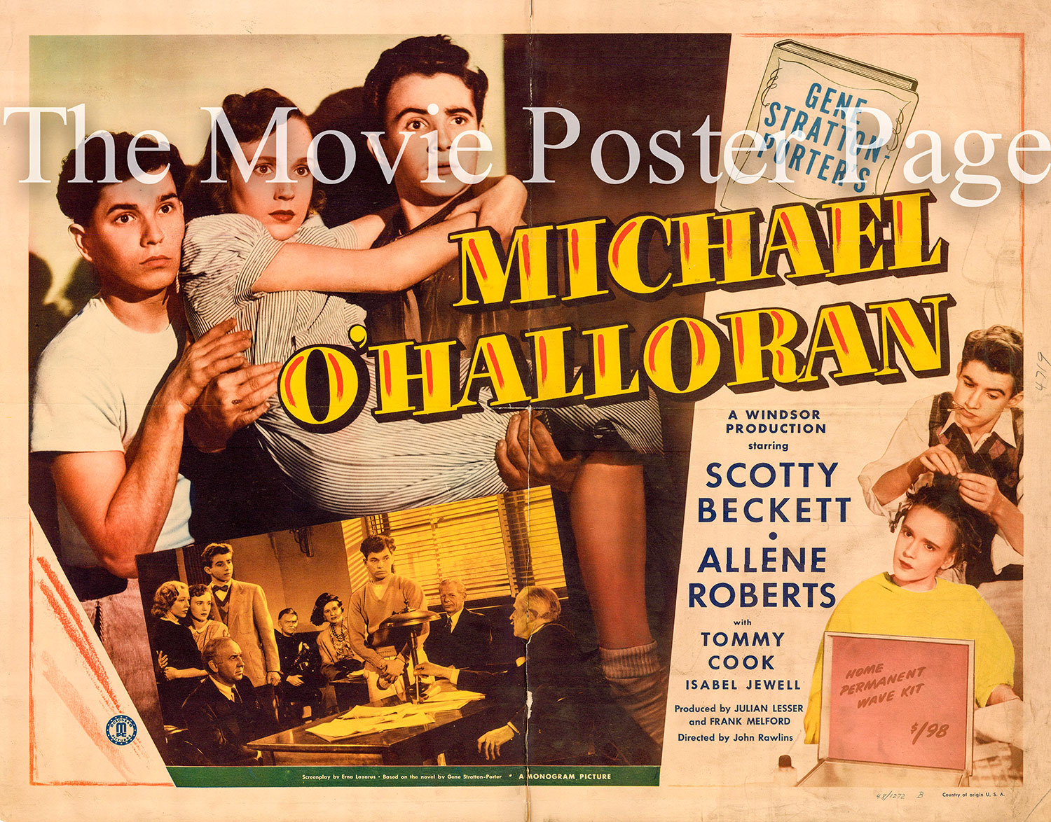 Pictured is a US half-sheet promotional poster for the 1948 John Rawlins film Michael O'Halloran starring Scotty Beckett based on the novel by Gene Stratton-Porter.