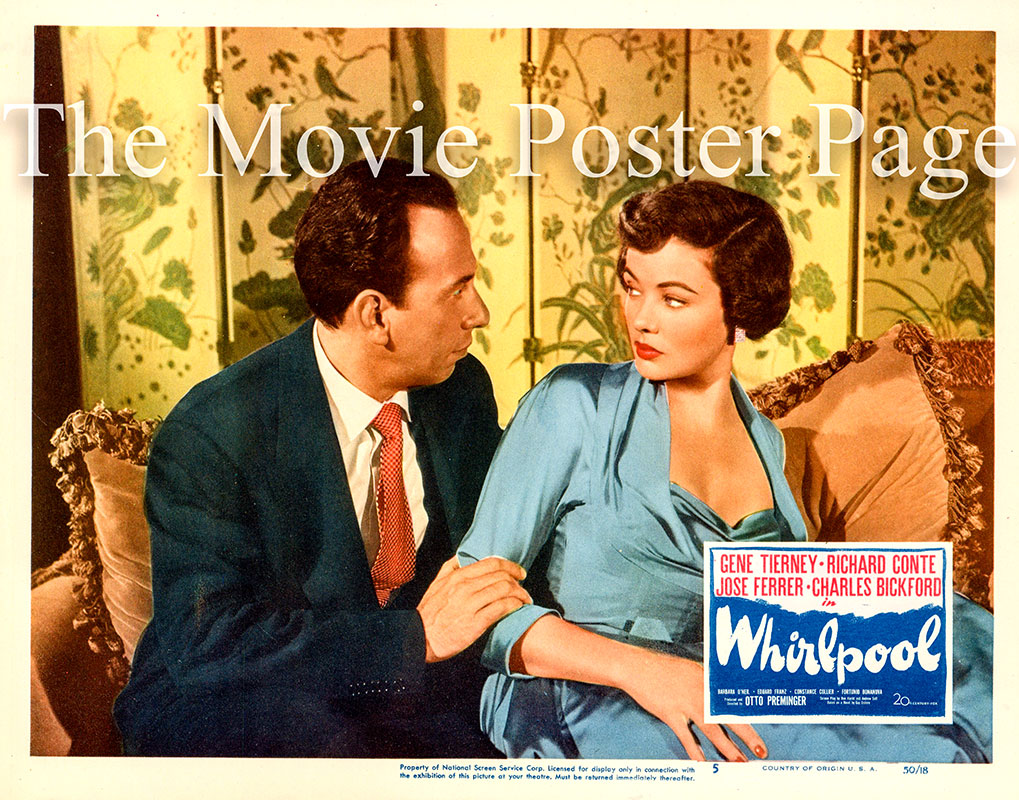 Pictured is a US promotional lobby card for the 1950 Otto Preminger film Whirlpool starring Gene Tierney.