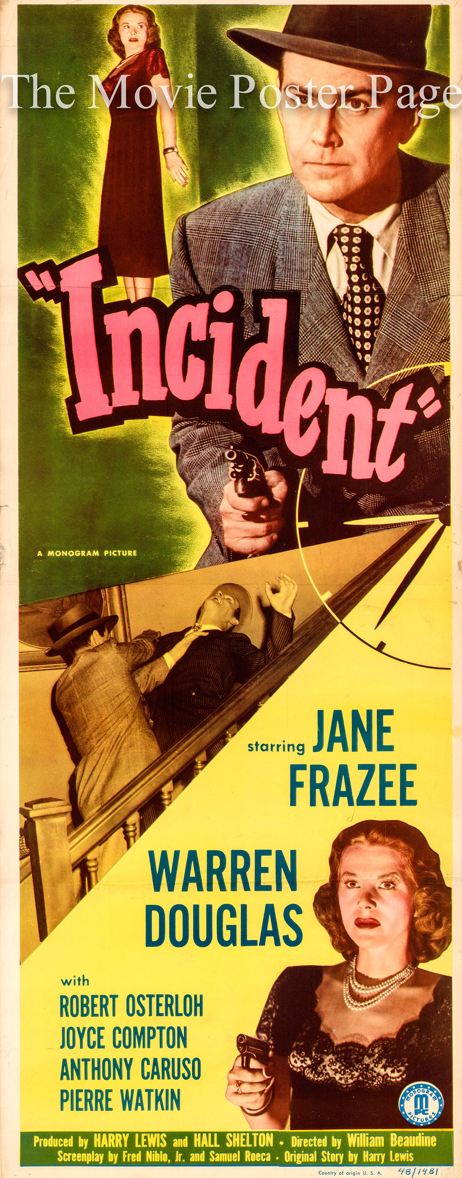 Pictured is a US insert promotional poster for the 1948 William Beaudine film Incident starring Warren Douglas and Jane Frazee.