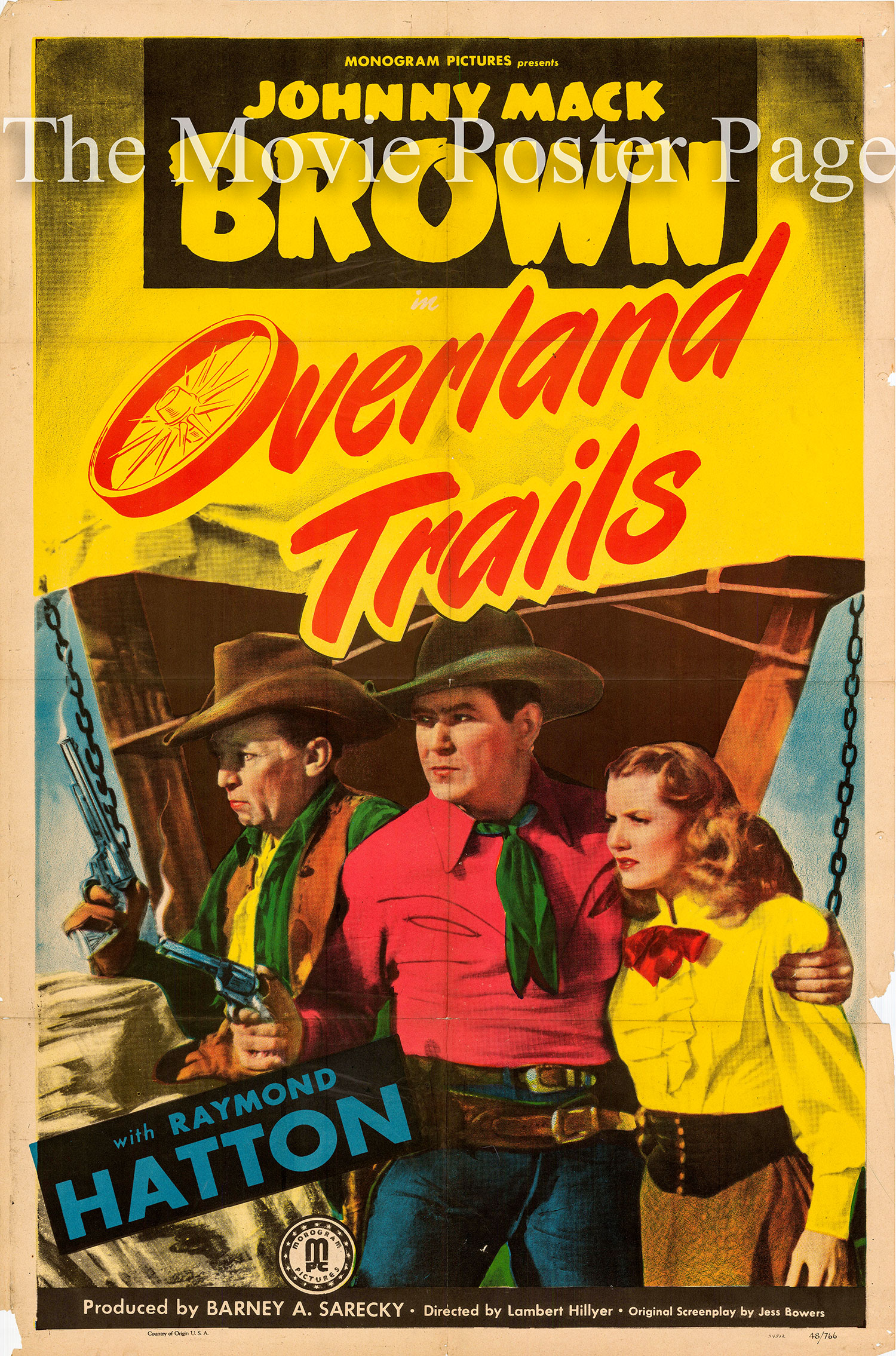 Pictured is a US one-sheet promotional poster for the 1948 Lambert Hillyer film Overland Trails starring Johnny Mack Brown.