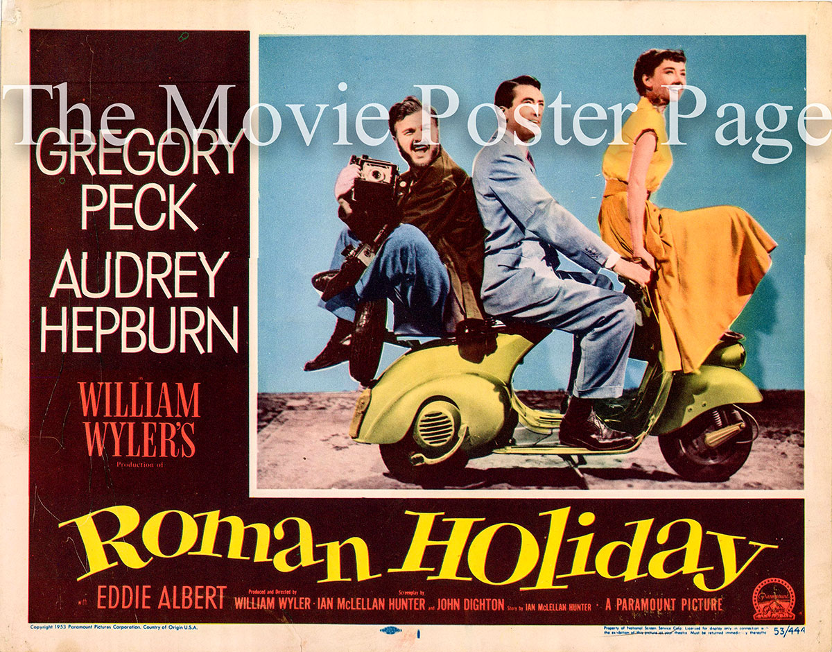 Pictured is a US one-sheet promotional poster for the 1953 William Wyler film Roman Holiday starring Audrey Hepburn and Gregory Peck.