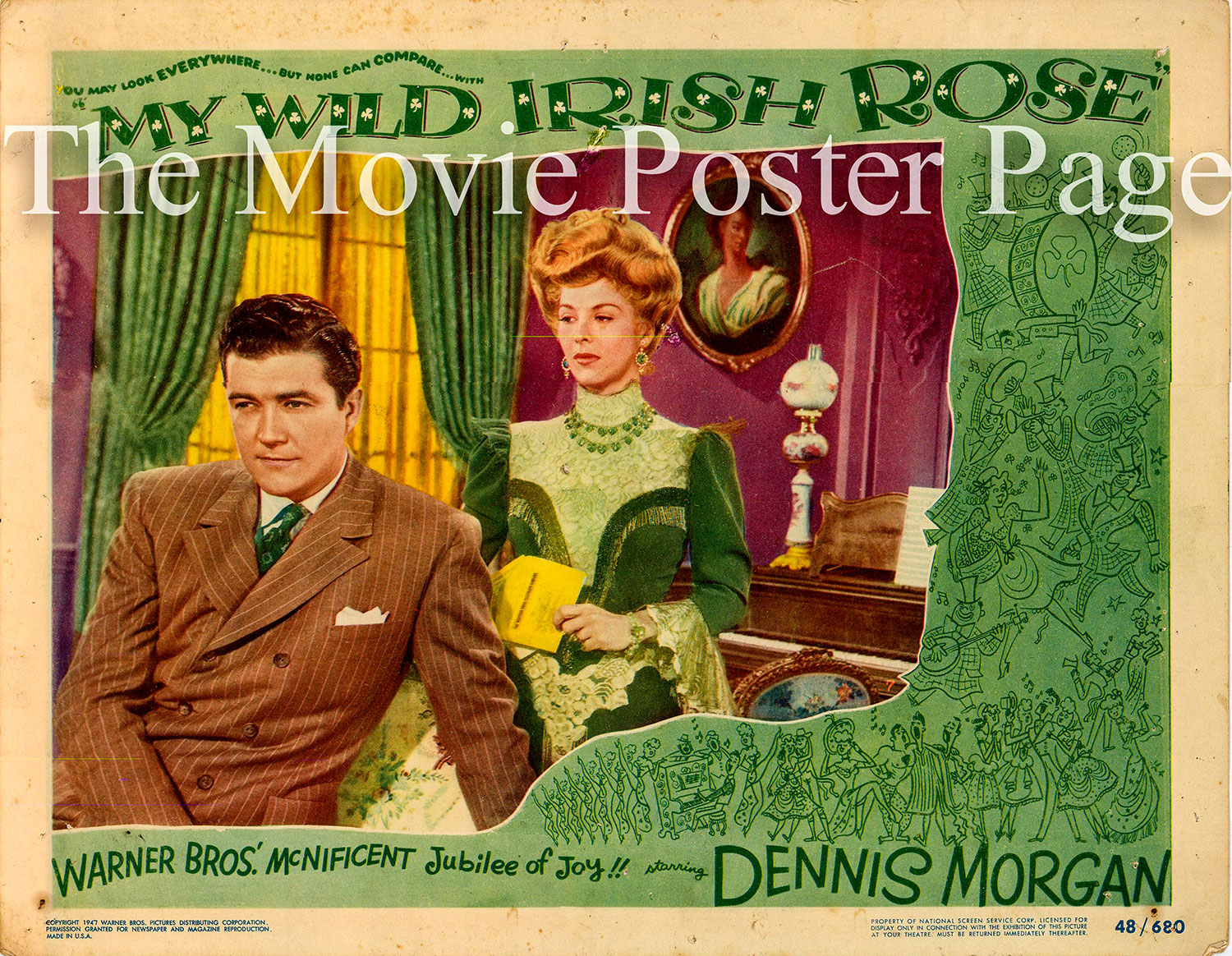 Pictured is a US lobby card for the 1948 David Butler film My Wild Irish Rose starring Dennis Morgan and Arlene Dahl.