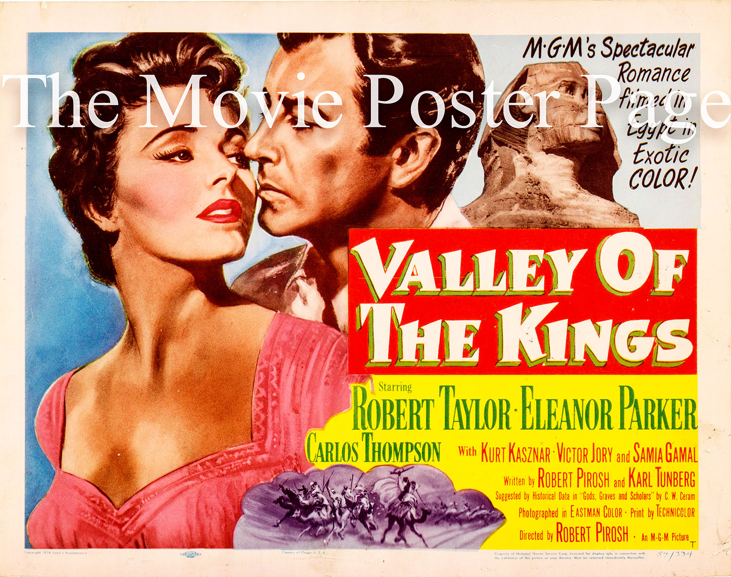 Pictured is a US lobby card for the 1954 Robert Pirosh film Valley of the Kings starring Robert Taylor.