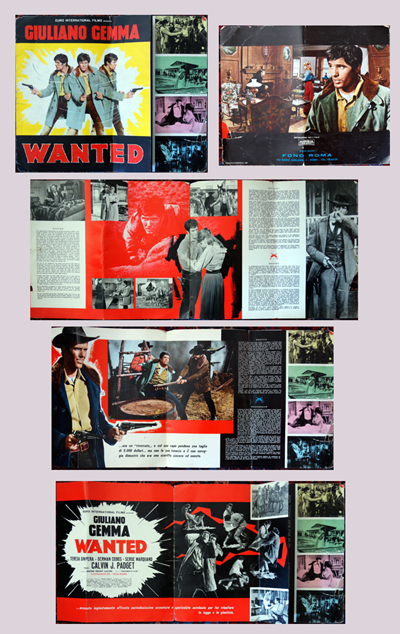 Pictured is an Italian promotional program book for the 1967 Giorgio Ferroni film Wanted starring Giuliano Gemma.