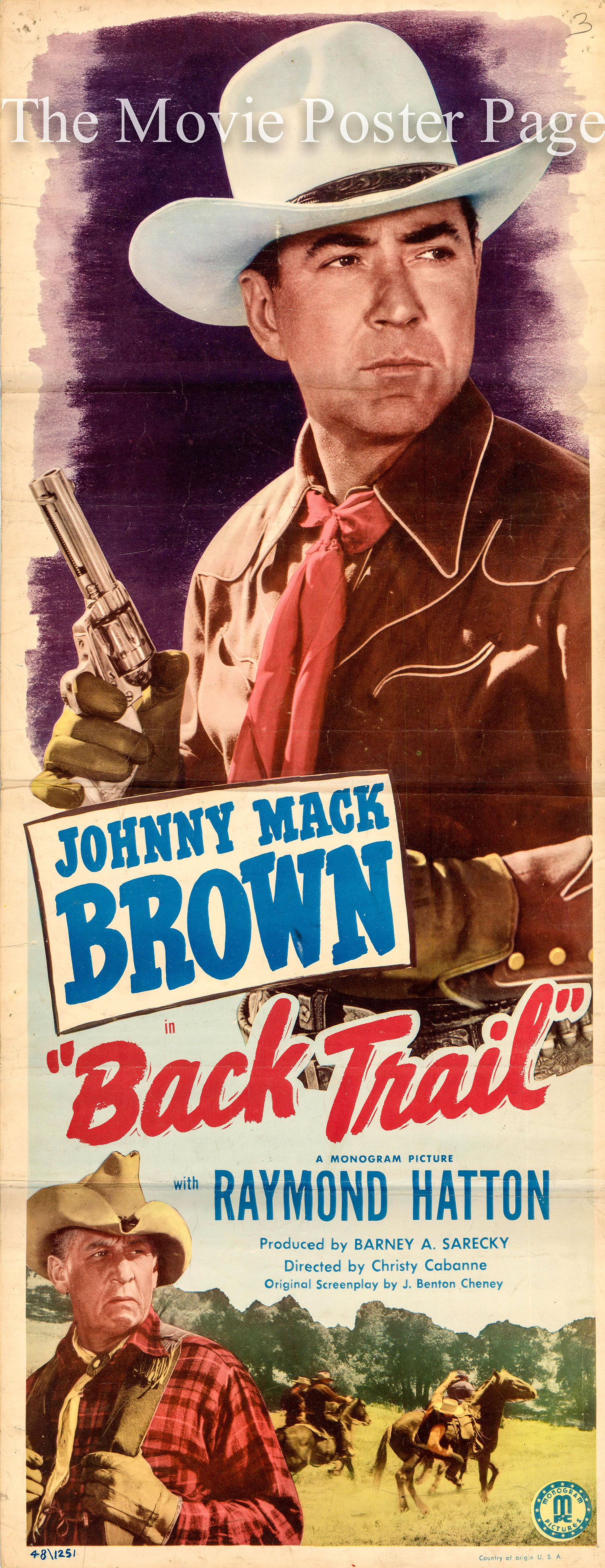 Pictured is a US insert promotional poster for the 1948 Christy Cabanne film Back Trail starring Johnny Mack Brown.