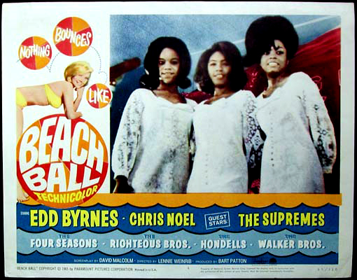 Pictured is a US lobby card for the 1965 Lennie Weinrib film starring Ed Byrnes, Chris Noel and the Supremes.