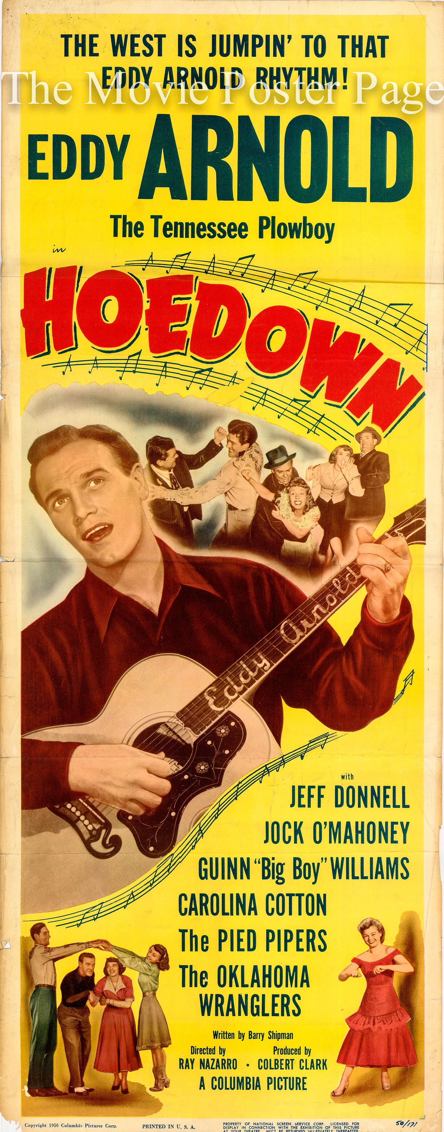 Pictured is a US one-sheet promotional poster for the 1950 Ray Nazarro film Hoedown starring Eddy Arnold.
