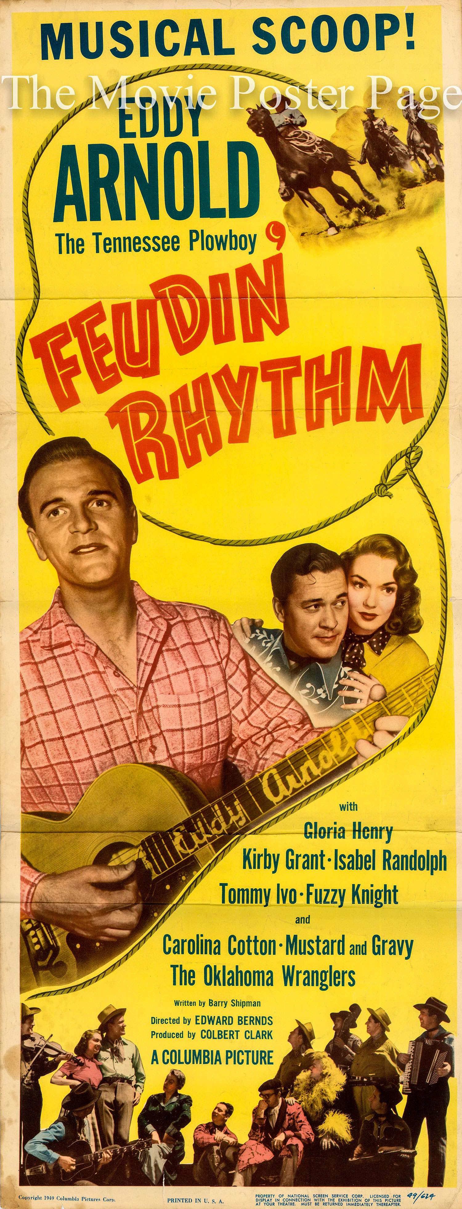 Pictured is a US insert promotional poster for the 1949 Edward Bernds film Feudin' Rhythm starring Eddy Arnold.