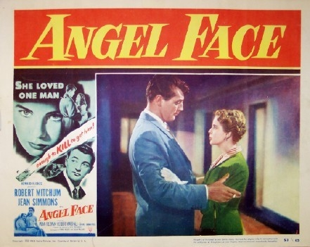 Pictured is a US lobby card for the 1952 Otto Preminger film Angel Face starring Robert Mitchum.