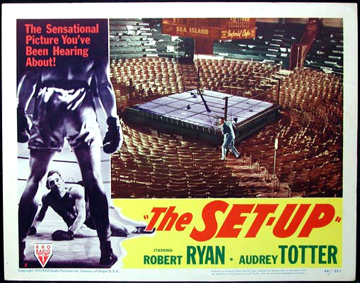 Pictured is a US lobby card for the 1949 Robert Wise film The Set-Up starring Robert Ryan.