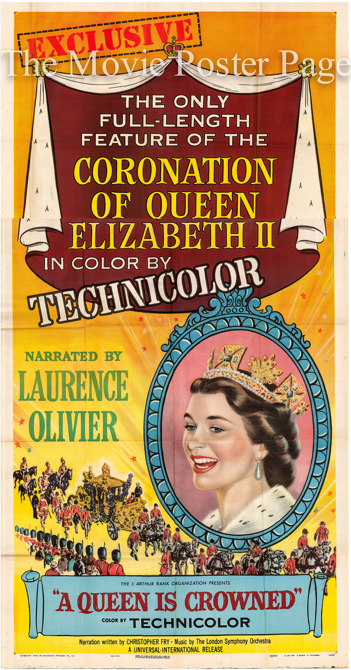 Pictured is a US three-sheet promotional poster for the 1953 film A Queen Is Crowned narrated by Laurence Olivier.