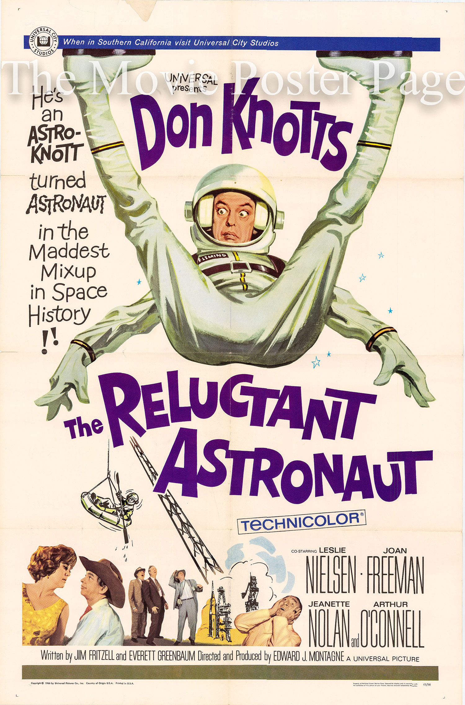Pictured is a US one-sheet promotional poster for the 1967 Edward Montagne film The Reluctant Astronatut starring Don Knotts.