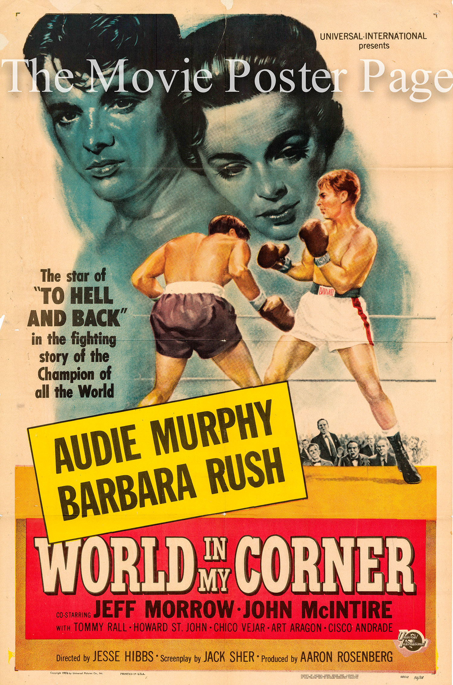 Pictured is a US one-sheet promotional poster for the 1956 Jesse Hibbs film World in My Corner starring Audie Murphy.