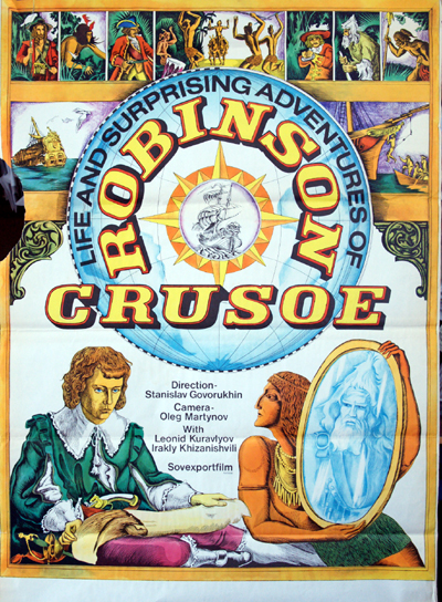 Pictured is a Soviet export promotional poster for the 1973 Stanislav Govorukhin film Robinson Crusoe starring Leonid Kuravlyov as Robinson Crusoe.