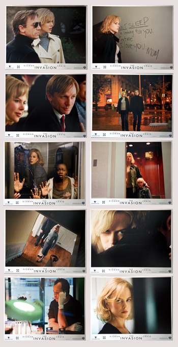 Pictured is are 10 US promotional lobby cards for the 2007 Oliver Hirschbiegel film The Invasion starring Nicole Kidman and Daniel Craig.