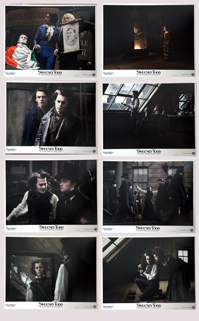 Pictured is a US lobby card set for the 2007 Tim Burton film Sweeney Todd: The Demon Barber of Fleet Street starring Johnny Depp.