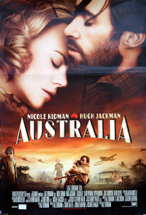 Pictured is an Egyptian promotional poster for the 2008 Baz Luhrmann film Australia starring Nicole Kidman and Hugh Jackman.