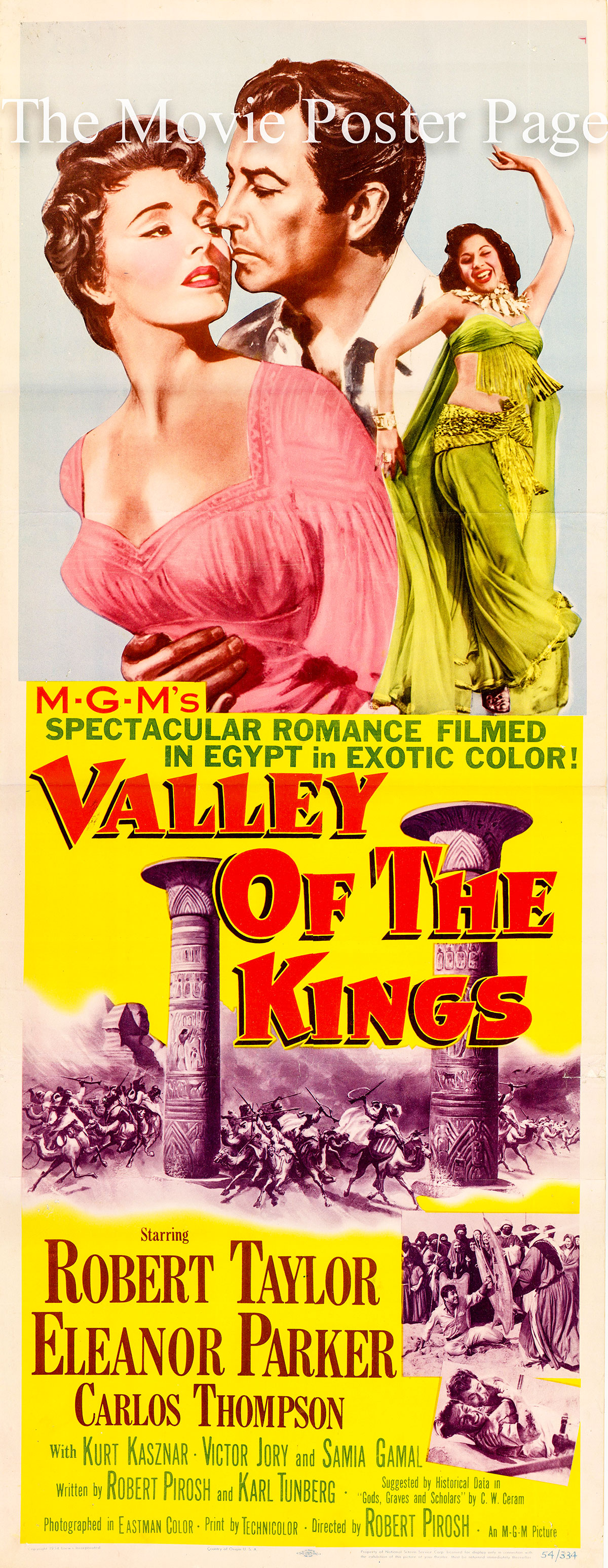 Pictured is a US insert poster for the 1954 Robert Pirosh film Valley of the Kings starring Robert Taylor, featuring an image of Samia Gamal doing the Dance of the Houris.