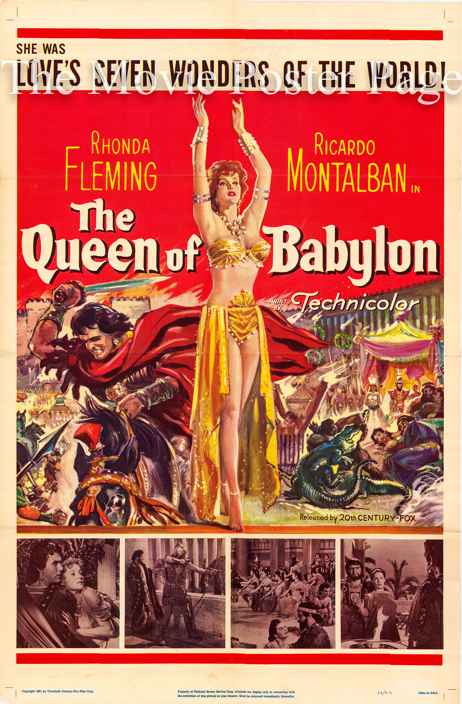 Pictured is a US one-sheet for the 1955 Carlo Ludovico Bragaglia film The Queen of Babylon starring Rhonda Fleming.