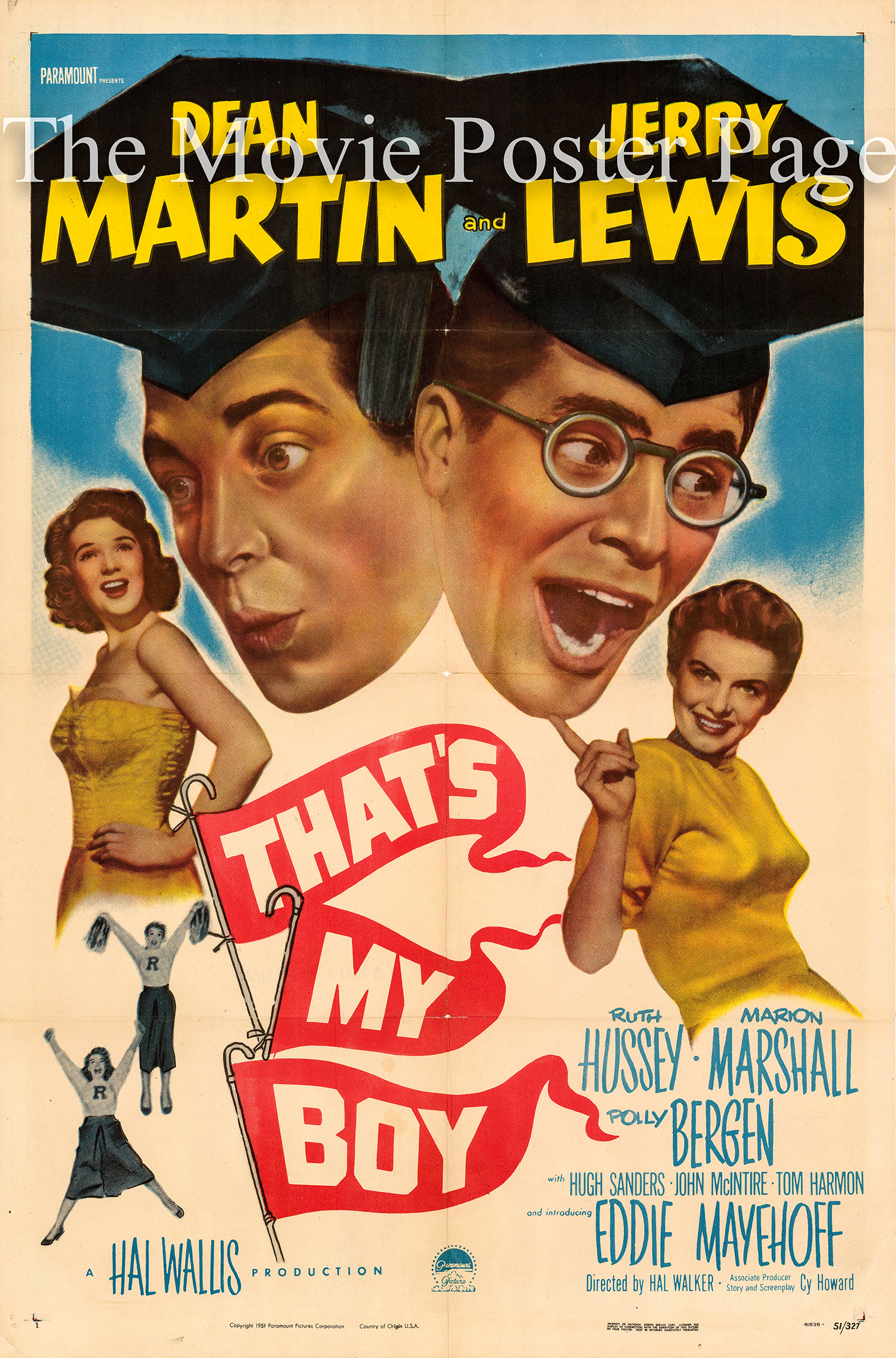 Pictured is a US one-sheet promotional poster for the 1951 Hal Walker film That's My Boy starring Dean Martin and Jerry Lewis.
