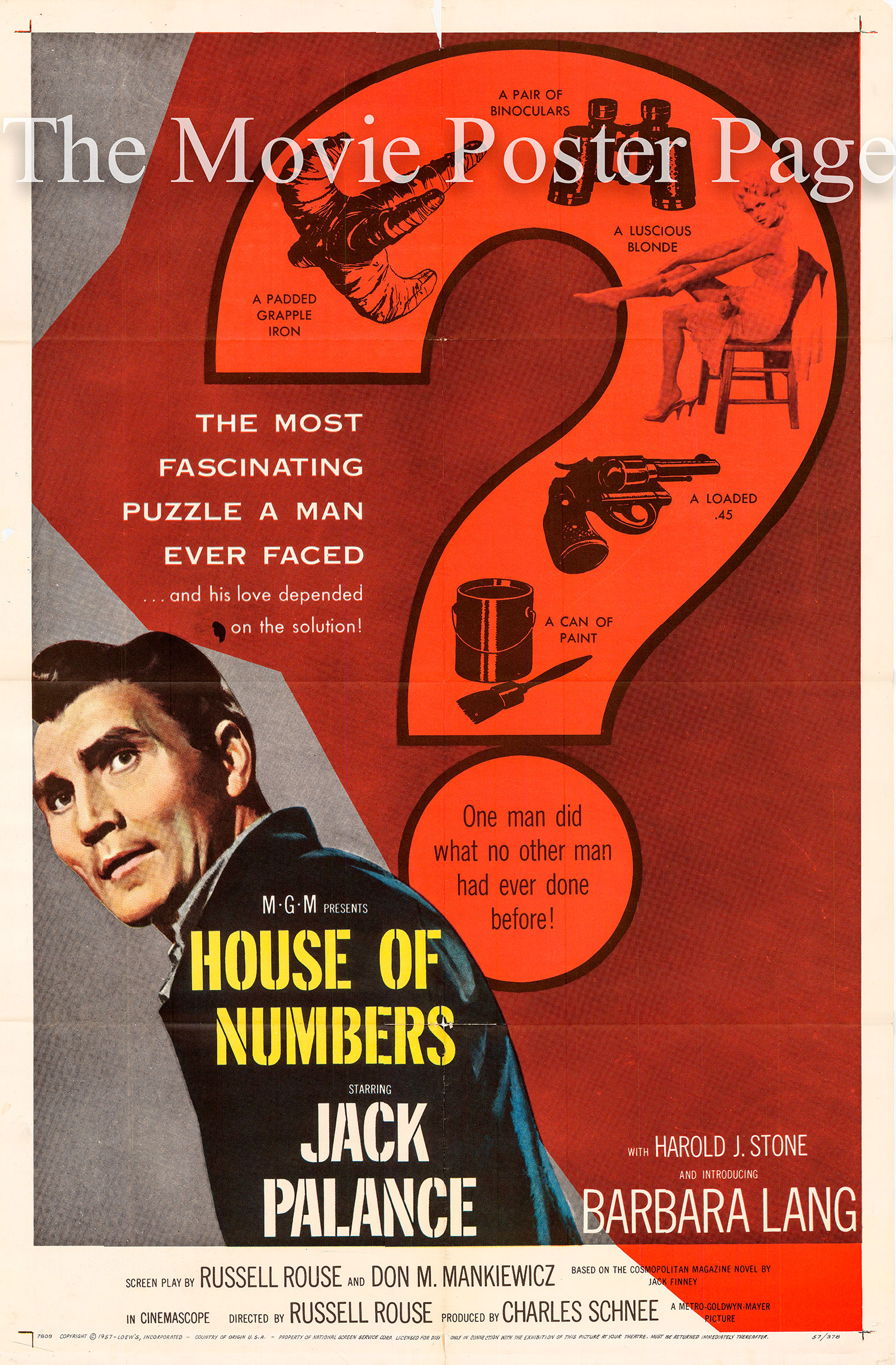 Pictured is a US one-sheet promotional poster for the 1957 Russell Rouse film House of Numbers starring Jack Palance.