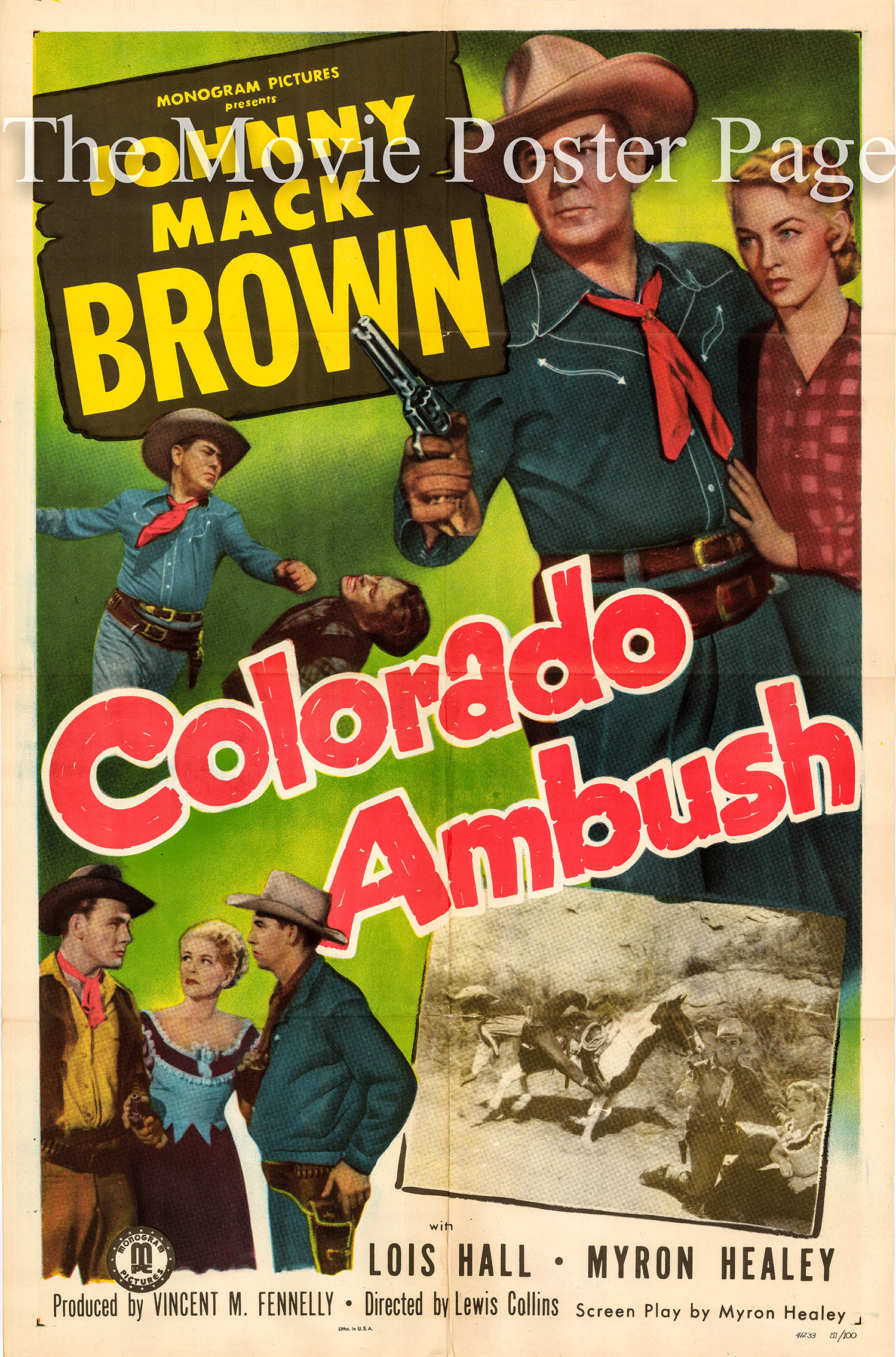 Pictured is a US one-sheet promotional poster for the 1951 Lewis D. Collins film Colorado Ambush starring Johnny Mack Brown.