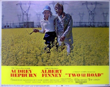Pictured is a US promotional lobby card for the 1967 Stanley Donen film Two for the Road starring Audrey Hepburn and Albert Finney.