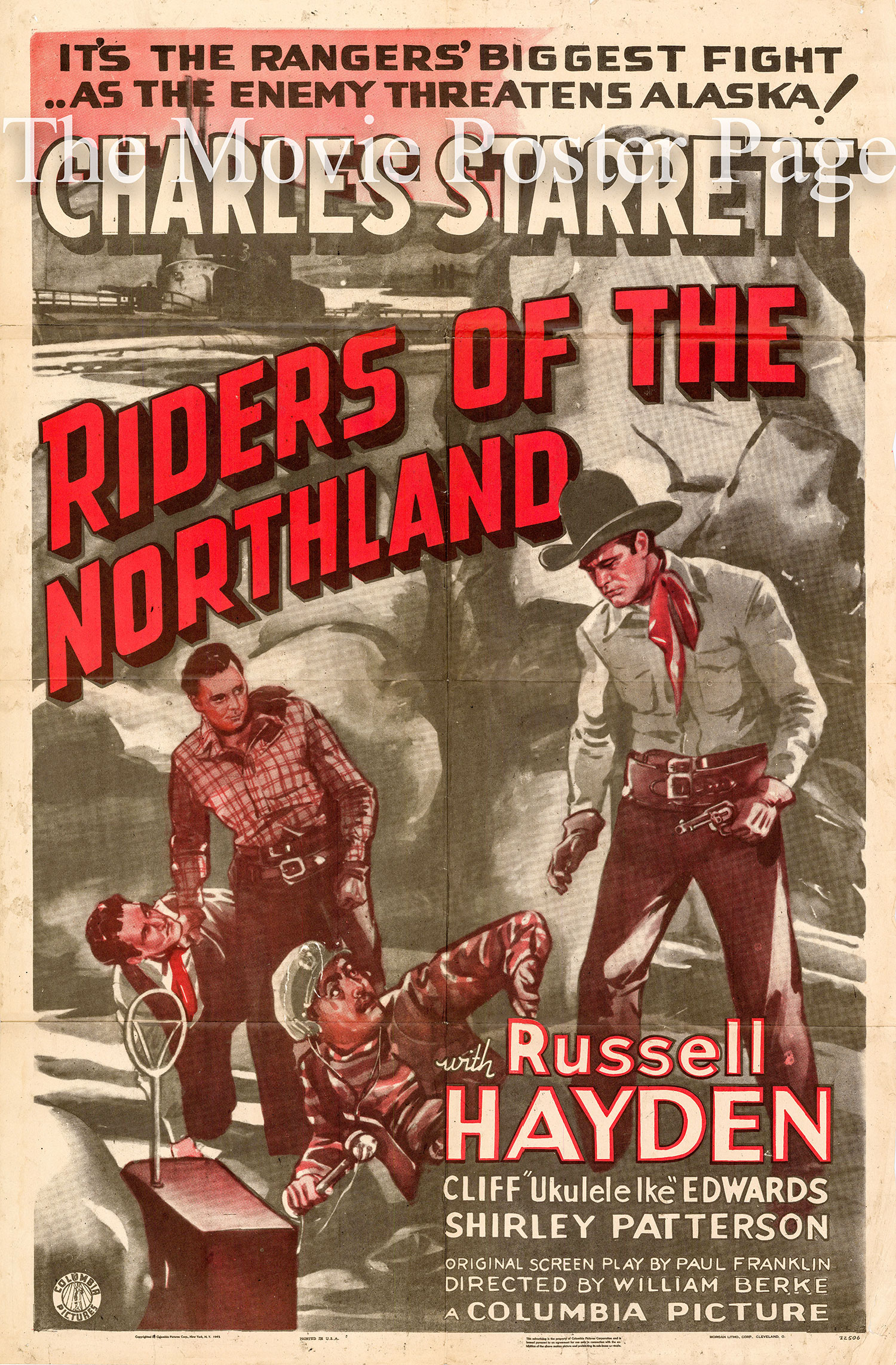 Pictured is a US one-sheet promotional poster for the 1942 William Berke film Riders of the Northland starring Charles Starrett.