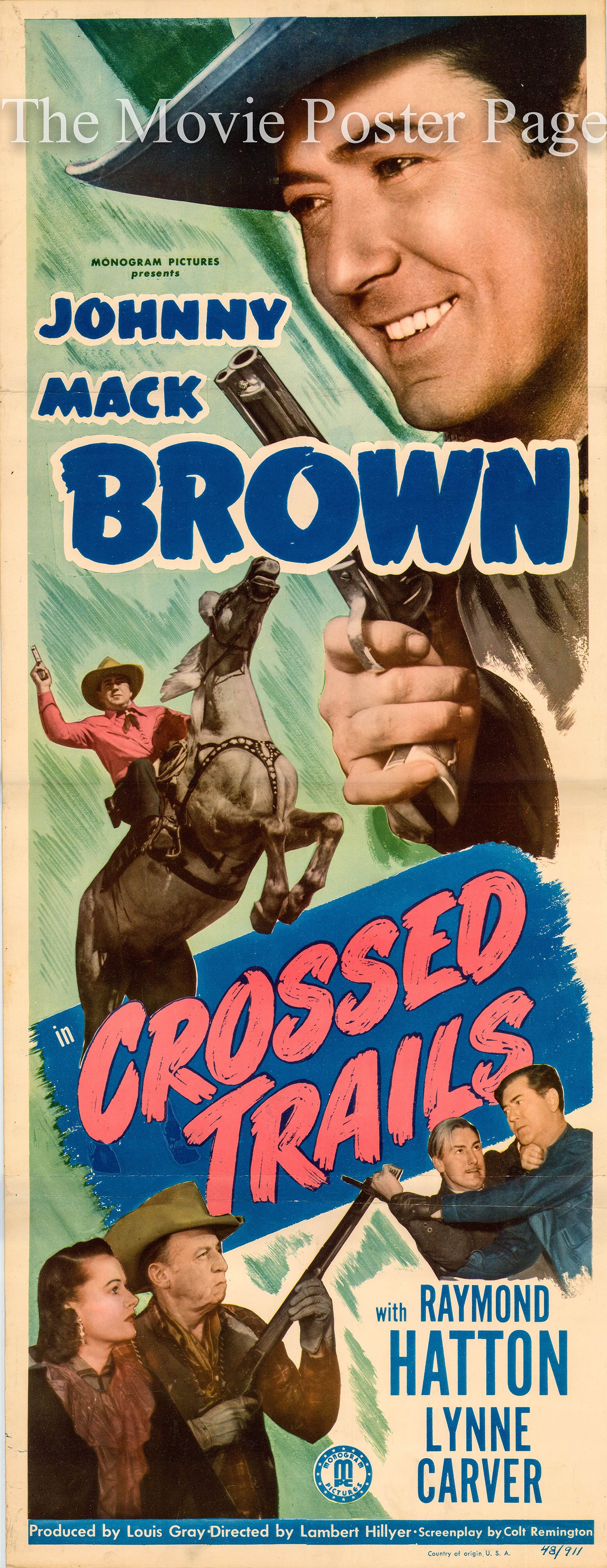 Pictured is a US insert promotional poster for the 1948 film Lambert Hillyer film Crossed Trails starring Johnny Mack Brown.