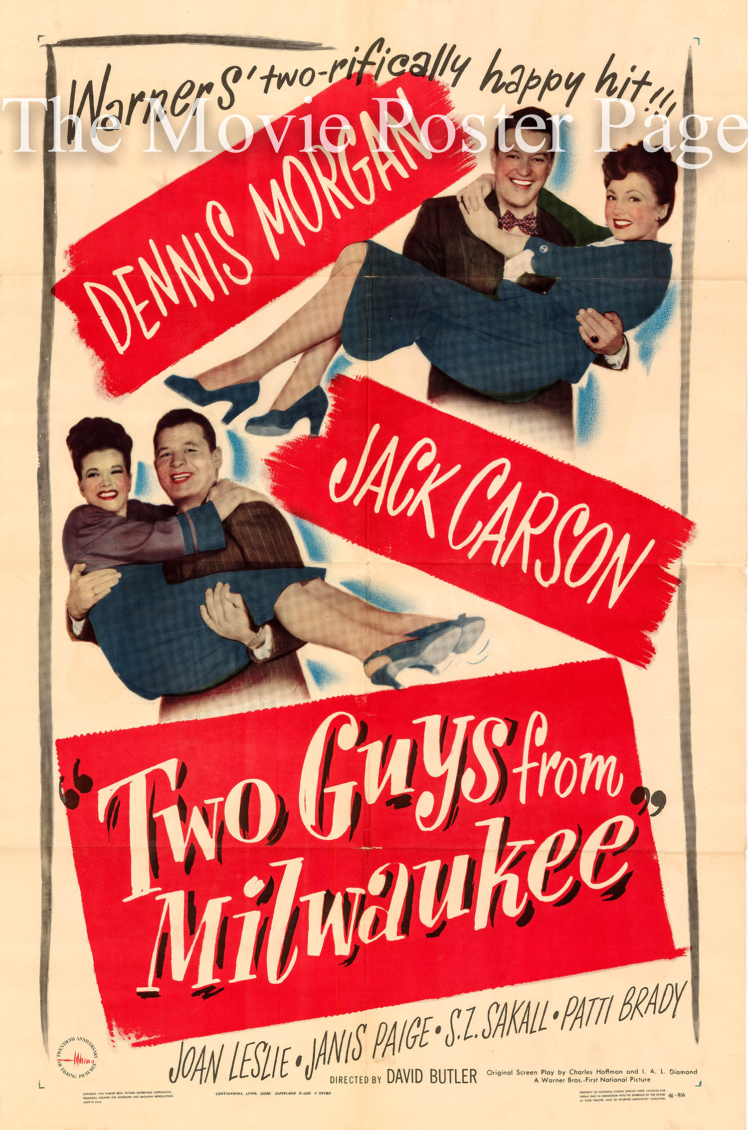 Pictured is a US one-sheet promotional poster for the 1946 David Butler film Two Guys from Milwaukee starring Dennis Morgan.