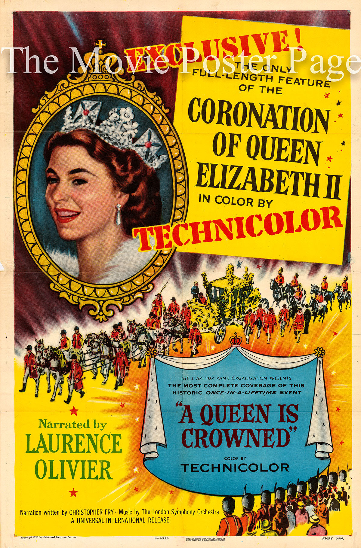 Pictured is a US one-sheet promotional poster for the 1953 film A Queen Is Crowned narrated by Laurence Olivier.